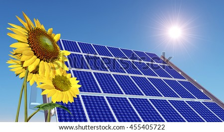 Solar panel and sunflowers Computer generated 3D illustration