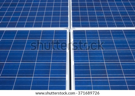 Solar panel array on a sunny day