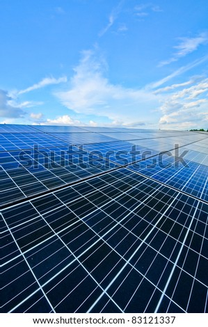solar panel below blue sky - stock photo