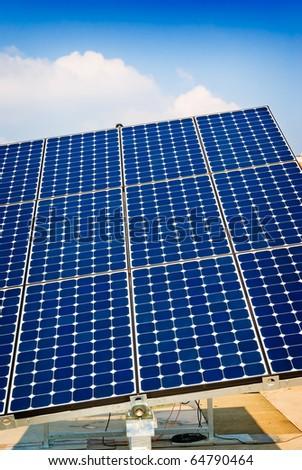 Solar panel energy, sun power, photovoltaic industry - stock photo