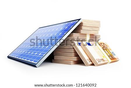 solar panel euro on a white background - stock photo