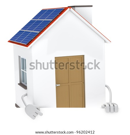 solar panel figure behind a white wall - stock photo