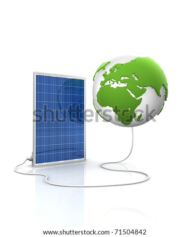 Solar panel for green and renewable energy. Save the world with photovoltaic and alternative energy. View of Europe and Africa. - stock photo