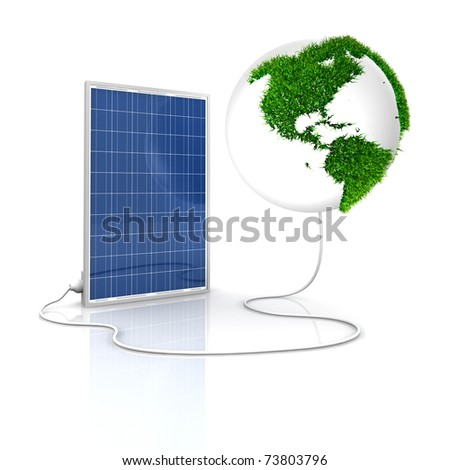 Solar panel for green and renewable energy. Save the world with photovoltaic and alternative energy. America view with grass surface. - stock photo