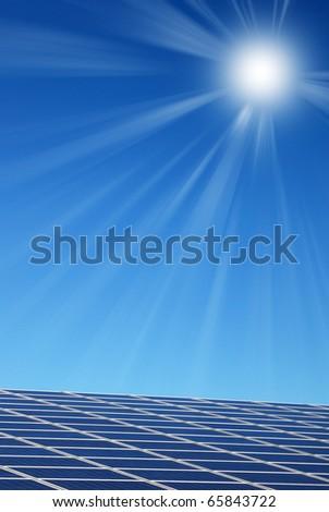solar panel illuminated by the sun - stock photo