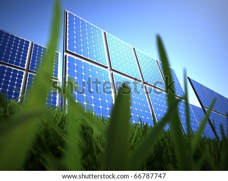 Solar panel in grass - this is a 3d render illustration - stock photo