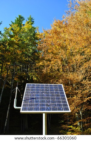 solar panel in the woods of larch - stock photo