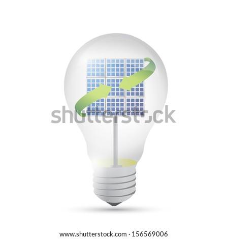 solar panel inside a idea electricity light bulb. illustration design - stock photo