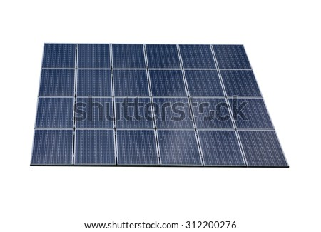 Solar panel isolated on white background - stock photo