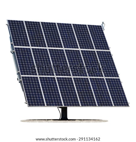 Solar panel isolated on white background. Photovoltaic module with base.  - stock photo