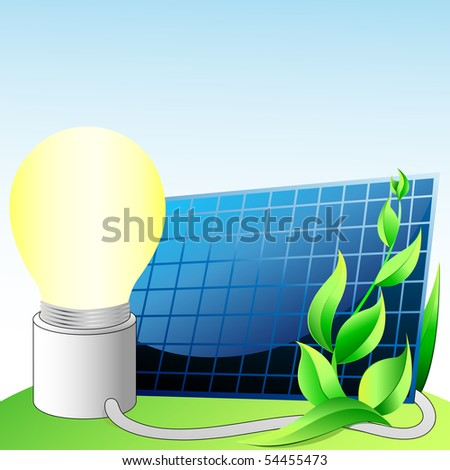 solar panel, light bulb with electric cable, the cable comes from the solar panel