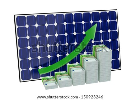 Solar Panel - Money Bar graphs - stock photo