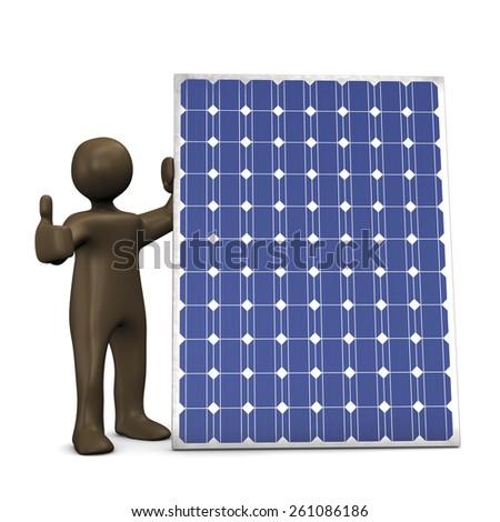 Solar panel, Ok, 3d illustration with black cartoon character - stock photo