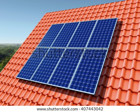 Solar panel on a roof Computer generated 3D illustration - stock photo
