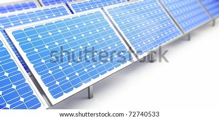 solar panel on a white background - stock photo