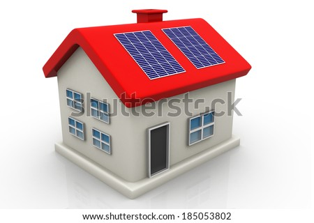 Solar panel on house  - stock photo