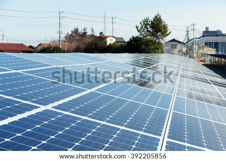 Solar panel on roof top of the house - stock photo