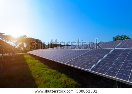 Beautiful Sunset Over Solar Farm Stock Photo 578166598