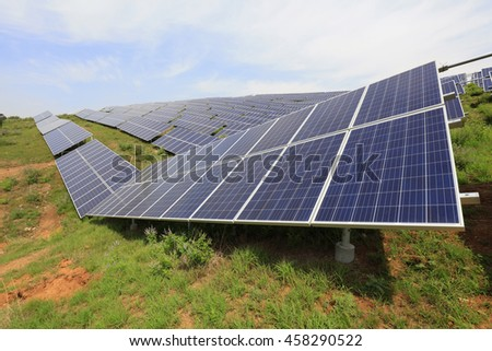 solar panel on the hillside, closeup of photo