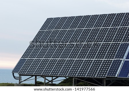Solar panel on the ocean shore - seen in Australia at sunrise