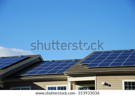 solar panel on the roof - stock photo