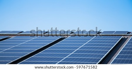 Solar panel on the roof with blue sky background