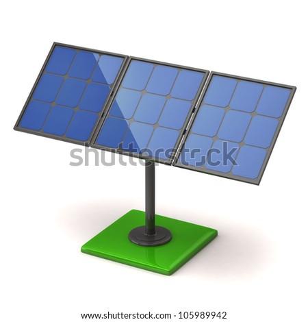 Solar panel on white background - stock photo