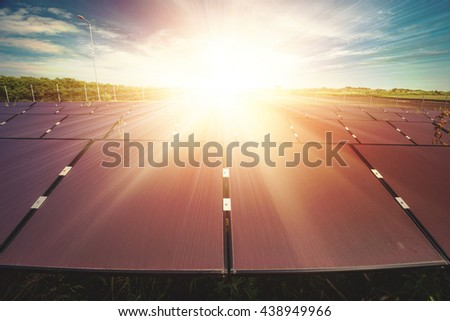 Solar panel,  photovoltaic - selective focus, copy space