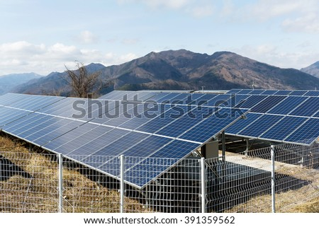 Solar panel plant in countryside