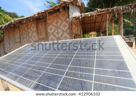 Solar panel plant,Surin island National park,Thailand - stock photo