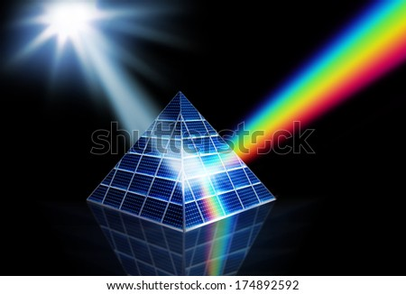 Solar panel prism turning sunlight into energy spectrum - stock photo