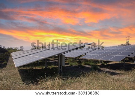 Solar panel produces green, environmentaly friendly energy from the setting sun