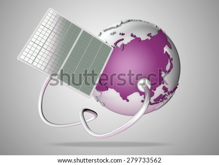 Solar panel supplies power from the sun to Asia. Concept for green power sources and energy supply to the world. - stock photo