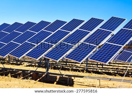 solar panel system - stock photo