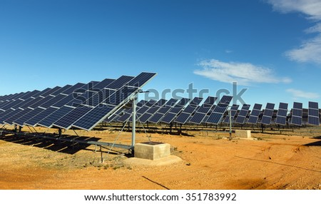 Solar panel system. Energy production at Spain - stock photo