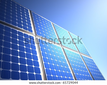 Solar panel - this is a 3d render illustration - stock photo