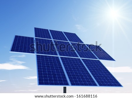 solar panel tower with the sun