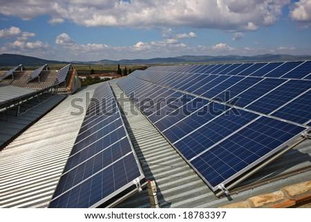 Solar Panel under Blue Sky - stock photo