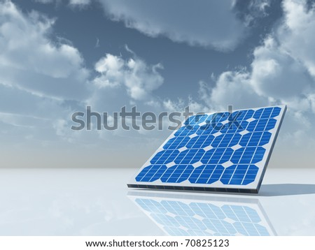 solar panel under cloudy sky - 3d illustration - stock photo