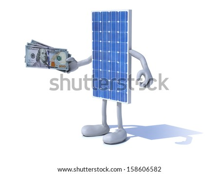 solar panel with arms and legs and dollar notes on hand - stock photo