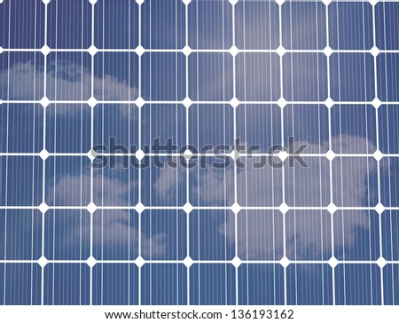 Solar panel with clouds reflected