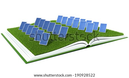 Solar Panel with green grass on book - stock photo
