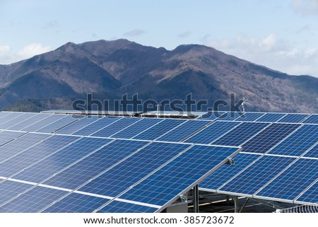 Solar panel with mountain background