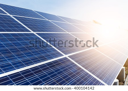 Solar panel with sunlight - stock photo
