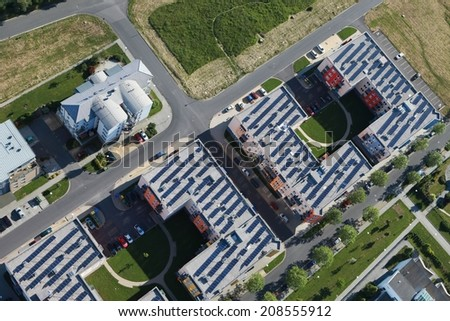 solar panels, aerial view - stock photo