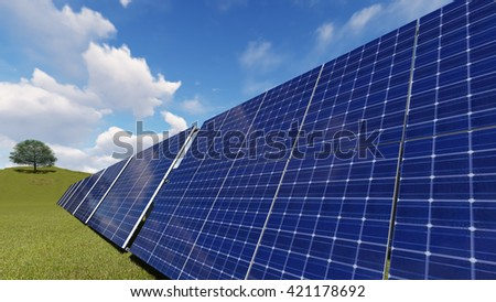 Solar panels against a blue sky with clouds 3D illustration - stock photo