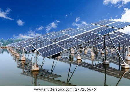 solar panels and blue sky - stock photo