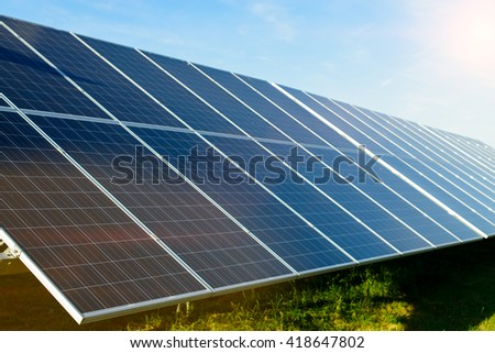 Solar panels and blue sky background, Power plant  - stock photo