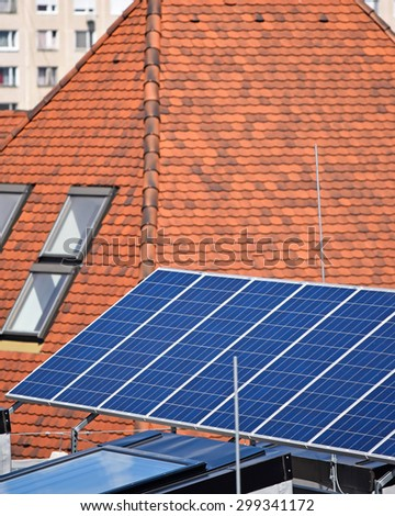 Solar panels and house roof
