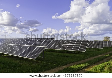Solar panels and sky.